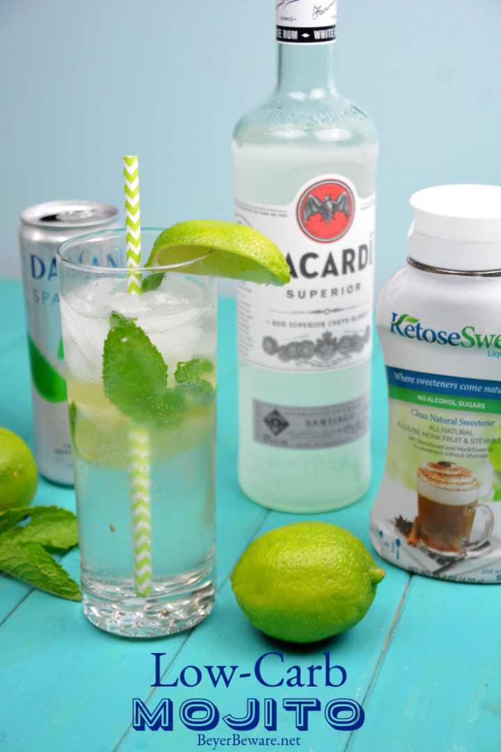 Low-Carb Mojito cocktail recipe is just like the traditional rum, mint and sugar combination, but with sugar-free syrup. #Cocktails #LowCarb #Mojito #Mojitos #Rum