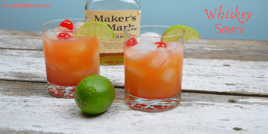 Whiskey Sours is limeade and whiskey combine and stirred in with a smidge of orange juice and grenadine. #Whiskey #Whisky #WhiskeySours #Cocktails #Cocktail