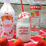 Baileys Strawberries and cream milkshake combines vanilla ice cream, strawberry vodka, frozen strawberries and Baileys strawberries and cream for a boozy strawberry milkshake. #Milkshake #Boozymilkshake #Spiked #SpikedMilkshake #Baileys #Strawberries #cocktails