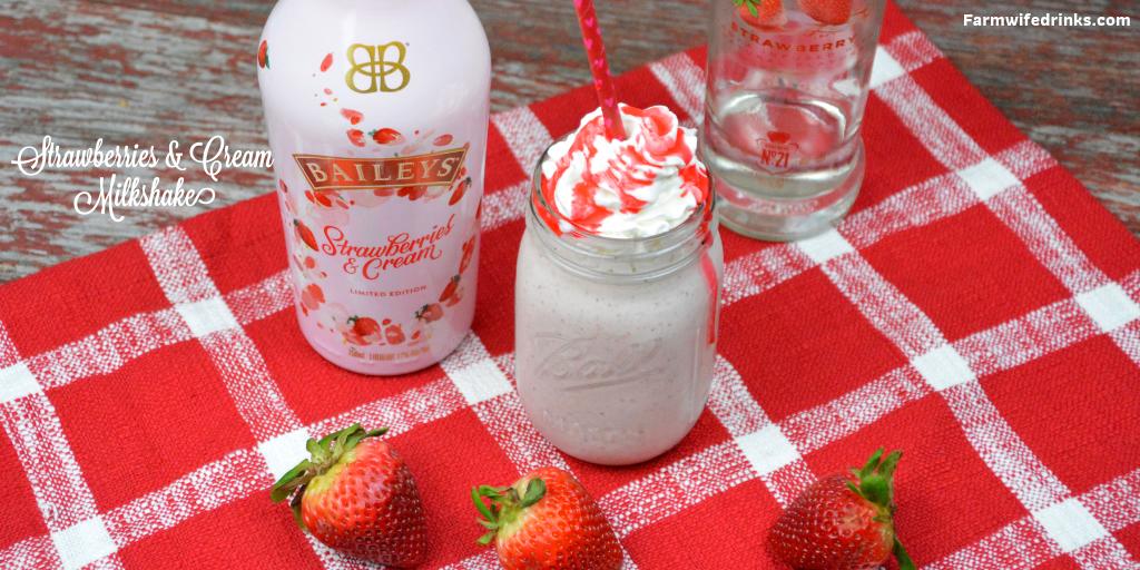 Baileys Strawberries and cream milkshake recipe combines vanilla ice cream, strawberry vodka, frozen strawberries and Baileys strawberries and cream for a boozy strawberry milkshake. #Milkshake #Boozymilkshake #Spiked #SpikedMilkshake #Baileys #Strawberries #cocktails