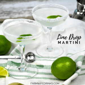 Lime Drop Martini is an easy to make cocktail with the help of some lime simple syrup, lime juice, triple sec and lime vodka. Shaken and poured into a sugar-rimmed glass with a lime twist makes this a refreshing cocktail all year long. #Cocktails #Martini #LimeDrop #Vodka #Drinks