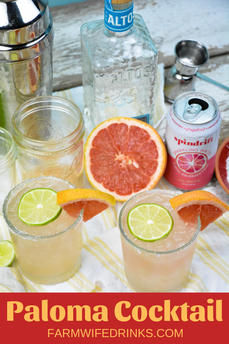 The Paloma cocktail is a refreshing blend of fresh grapefruit and lime juices combined with tequila, simple syrup, and sparkling water in a salt and sugar rimmed glass. #Paloma #Tequila #Grapefruit #Cocktail #Cocktails #Margaritas