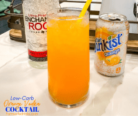 Low-Carb orange vodka cocktail is a zero carb alcoholic drink that is a great combination of orange diet soda and vodka.