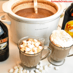 Crock Pot Hot Chocolate is a rich hot chocolate that melts chocolate chips, sweetened condensed milk, heavy cream, and whole milk beautifully together for the most insanely good hot chocolate. Stir in some Kahlua or Baileys for spiked hot cocoa.