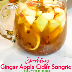Sparkling ginger apple cider sangria is the rich flavors of apple cider, ginger liqueur, prosecco with hints of lemon and pomegranate for a satisfying fall sangria recipe. #Sangria #Cocktails #FallRecipes #Drinks #AppleCider
