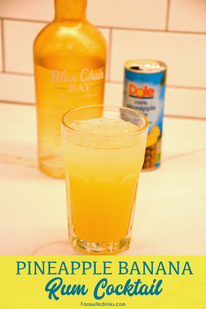 Tropical breeze rum drink is a combination of pineapple juice and banana rum with a splash of lemon-lime soda for the delicious Caribbean pineapple banana rum cocktail.
