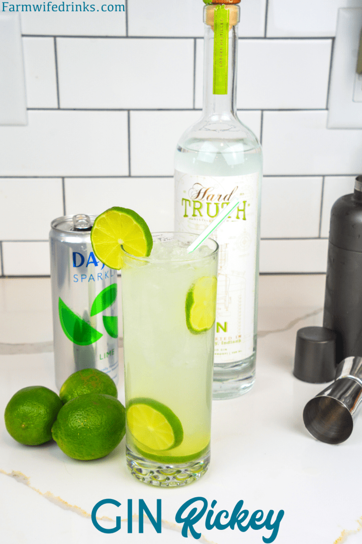 The gin rickey cocktail recipe is a highball cocktail made with fresh-squeezed lime juice, gin, and soda water.
