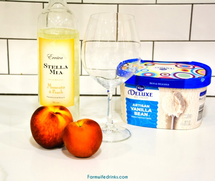 Peaches and Cream Wine Float Recipes combines a Moscato wine with vanilla bean ice cream and fresh peaches for the most decadent white wine float that can also serve for an amazing dessert drink.
