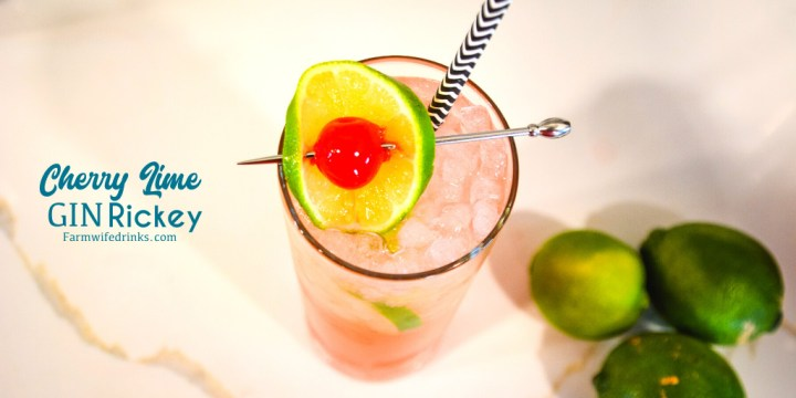 Cherry lime gin rickey cocktail is a sweeter version of the traditional gin rickey combining soda water, gin, lime juice with cherries and cherry juice.