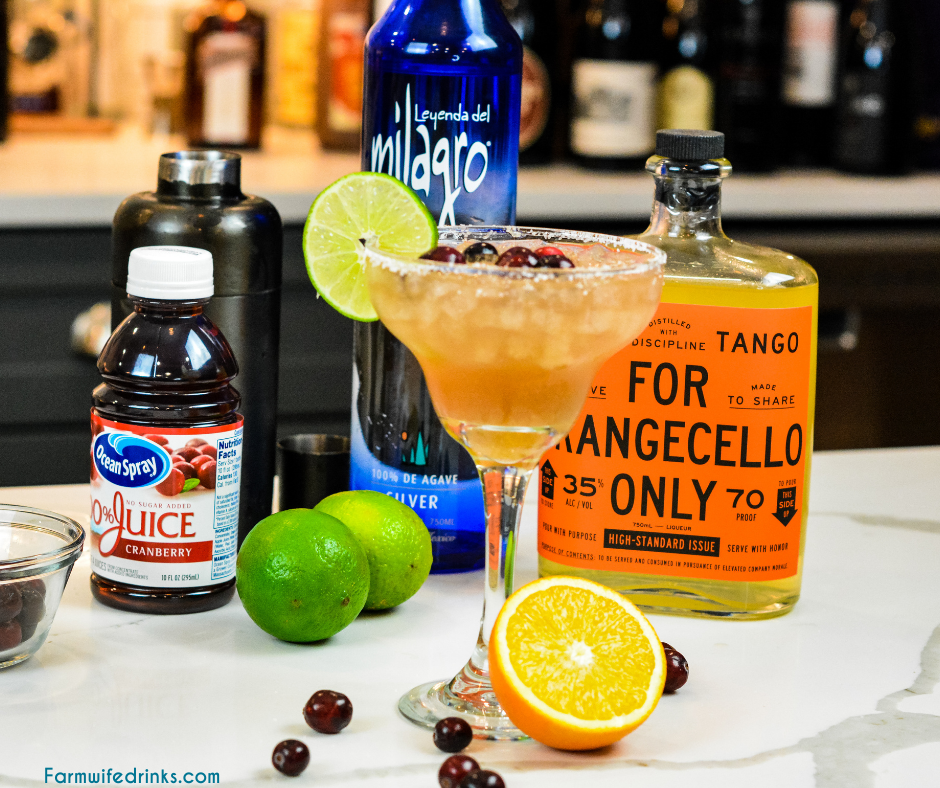 Cranberry orange margaritas are the combination of orangecello and tequila with orange, cranberry and lime juices to make a margarita that tastes like Christmas.