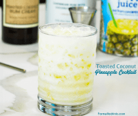 Toasted coconut rum pineapple cream cocktail is a smooth tropical drink combining Malibu rum and toasted coconut rum creme with pineapple juice.
