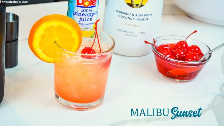 Malibu Sunset Cocktail is a fruity Hawaiian-inspired cocktail that combines pineapple juice, coconut rum such as Malibu Rum, and maraschino cherries and their juice for a beautiful and fruity rum cocktail.