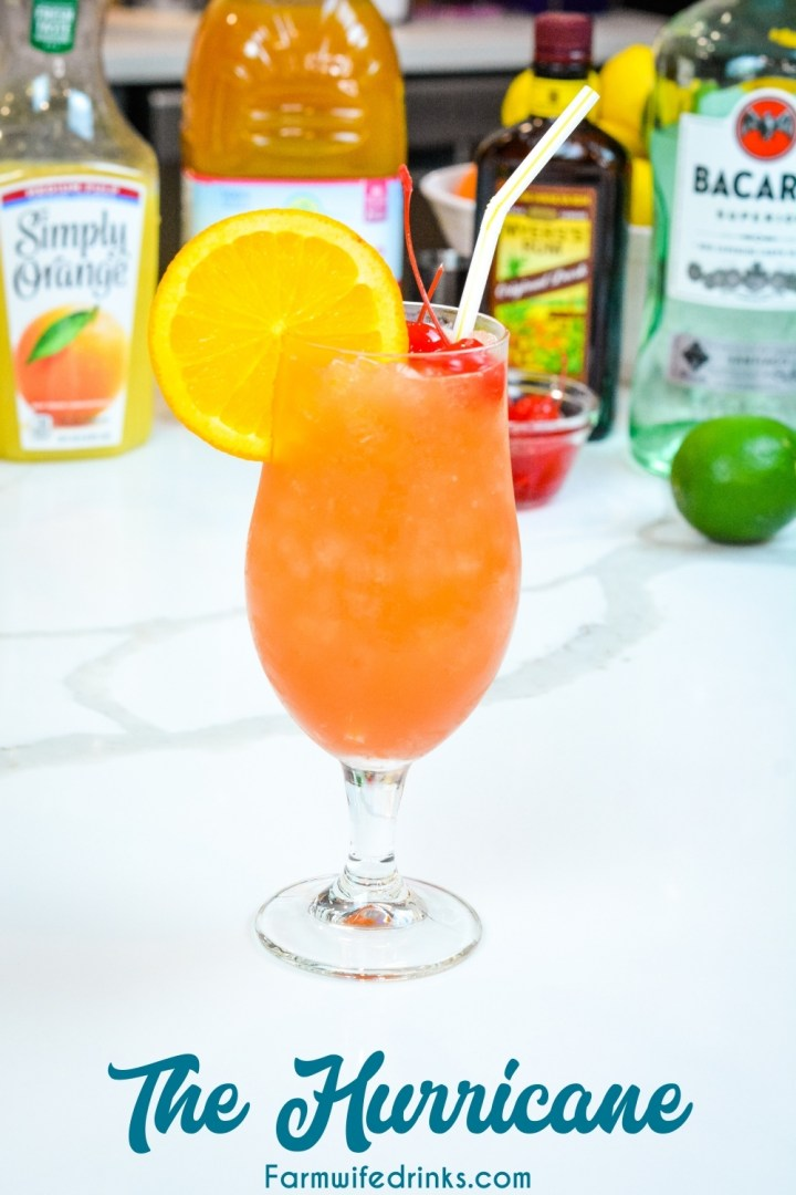 The New Orleans Hurrican Drink can be made at home with light and dark rum, passion fruit juice, orange juice, and grenadine. Top it off with a simple orange slice and maraschino cherries.