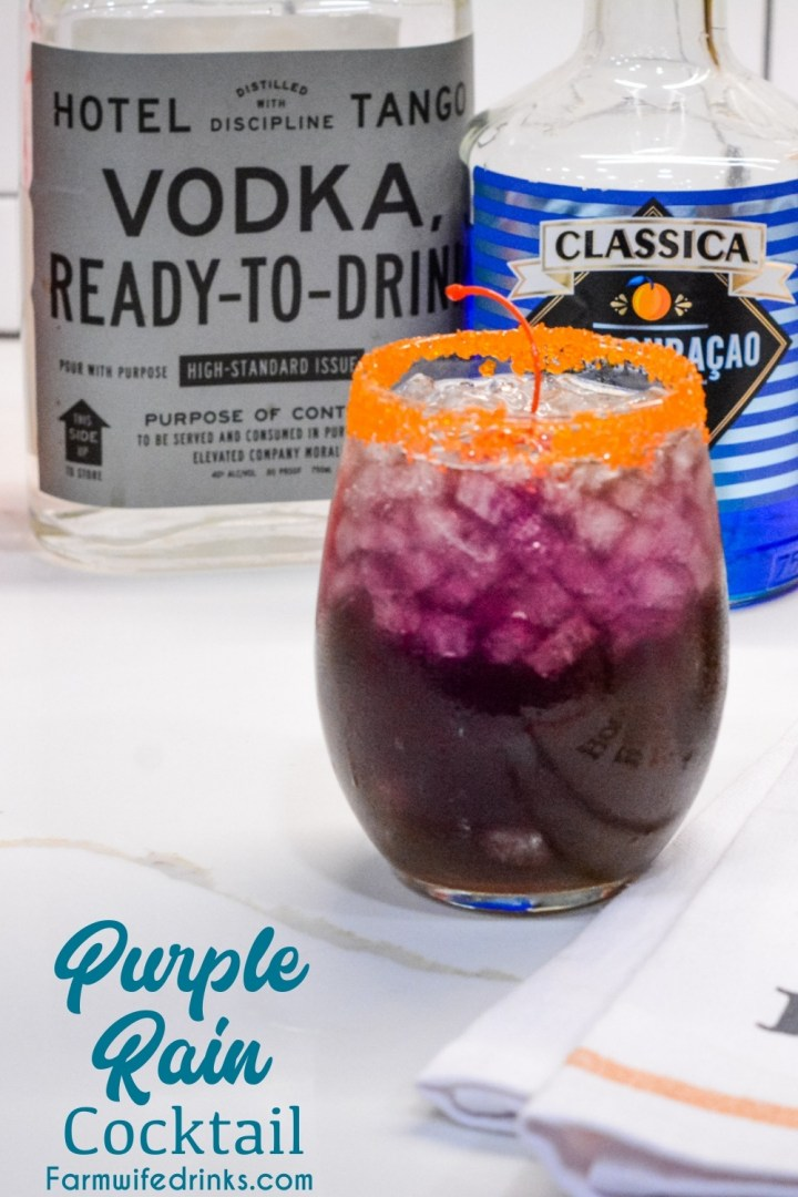 The purple rain drink can also be called the drunk witch cocktail for your Halloween party but regardless of the time of year, this purple cocktail is made with vodka, curaçao, grenadine, pineapple juice, and cranberry ginger ale.