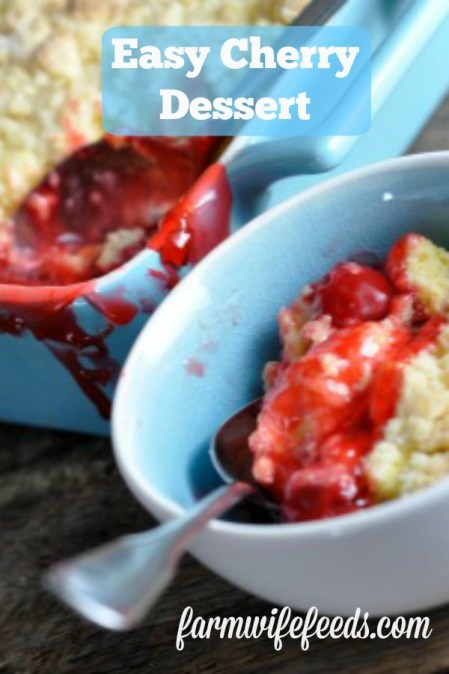 Easy Cherry Dessert from Farmwife Feeds uses simple ingredients to make a delicious dessert everyone will love! #cakemix #dessert #cherry