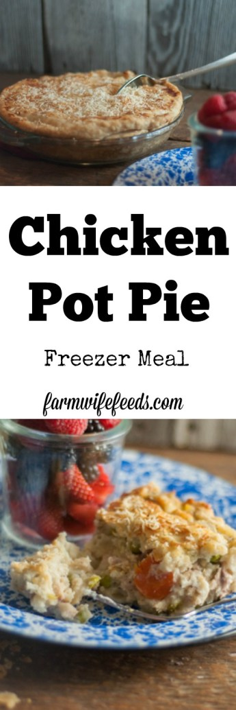 This easy Chicken Pot Pie is great baked fresh or made ahead as a freezer meal. Recipe is easy to double and uses remade pie crust.