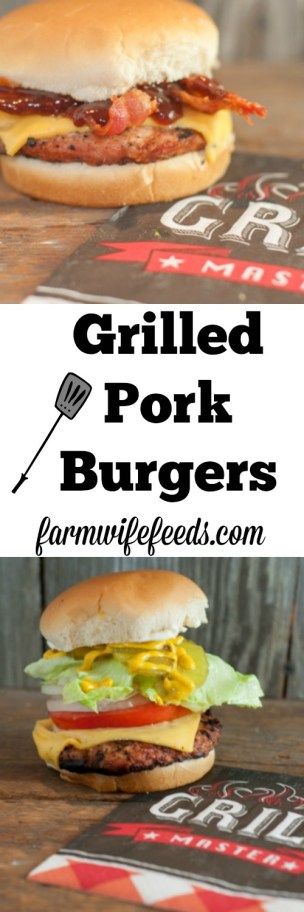 Grilled Pork Burgers - easy grill recipe using ground pork from Farmwife Feeds #grill #pork #recipe #burger