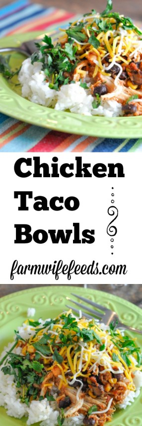 These Chicken Taco Bowls are a super easy crock pot recipe that pleases everyone on busy nights!