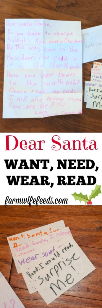 Want, Need, Wear, Read a great tool to help kids write letters to Santa and for parents to use as a gift guide!