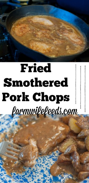 These Fried Smothered Pork Chops are an easy recipe using boneless chops that cook quickly and get supper on the table fast.