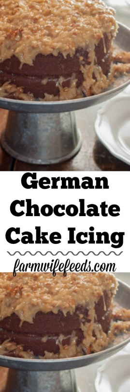 German Chocolate Cake Icing from the family recipe box of Farmwife Feeds #recipes #cake #dessert