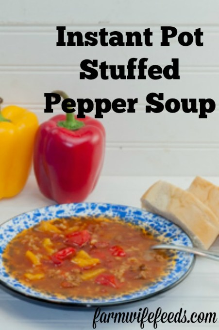 Instant Pot Stuffed Pepper Soup from Farmwife Feeds is all the flavors of stuffed peppers made easy in a soup! #instantpot #rice #stuffedpeppers