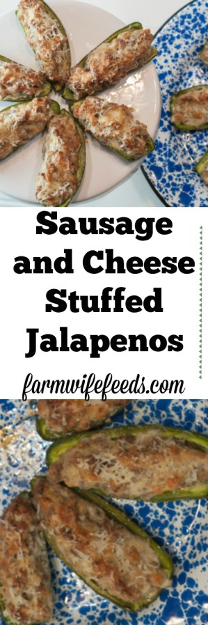 Sausage Stuffed Jalapeños from Farmwife Feeds are a great appetizer for parities and get togethers. #recipes #appetizers