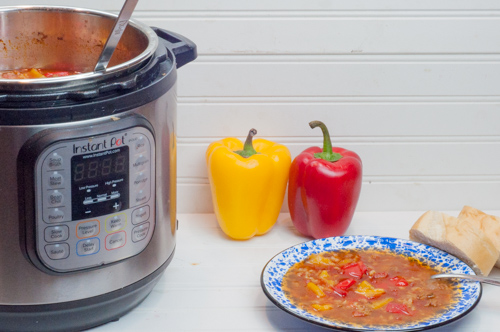 Hearty Instant Pot Stuffed Pepper Soup recipe, made totally in one pan from Farmwife Feeds
