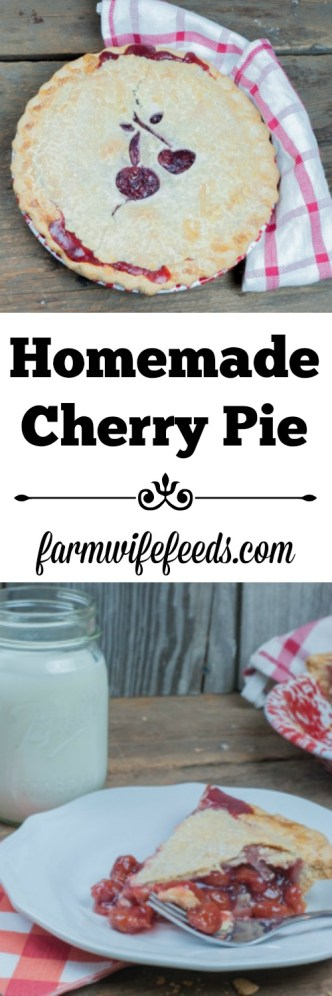 Homemade Cherry Pie, easy traditional recipe from Farmwife Feeds #pie #recipes #cherry