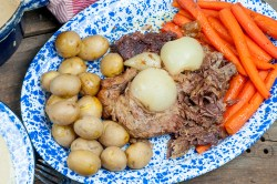 Traditional Beef Pot Roast Dinner, Yankee Pot Roast, New England Pot Roast - beef roast, potatoes, carrots, onions in the oven Farmwife Feeds Recipes #recipes #beef #roast