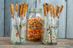 Candy Corn and Peanuts, Chocolate Covered Pretzel Sticks - Easy Fall Favorite Snacks #candycorn #recipes #farmwifefeeds #fall #snacks