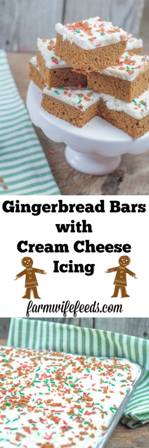 Gingerbread Bars with Cream Cheese Icing from Farmwife Feeds #gingerbread #recipe #creamcheese #christmas