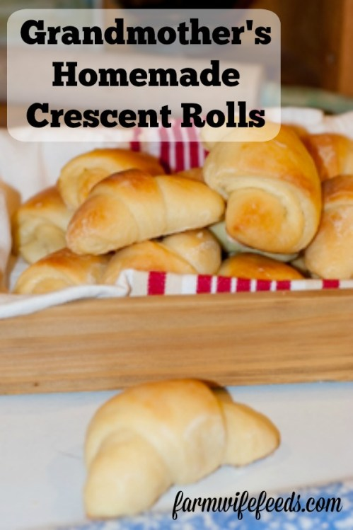 Grandmother's Homemade Crescent Rolls from Farmwife Feeds are a family tradition yeast roll with a sweet orange juice glaze your family will love! #recipe #yeastroll #tradition