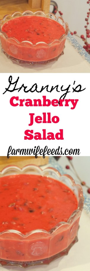 Granny's Cranberry Jello Salad is a Thanksgiving must from Farmwife Feeds #thanksgivingt #cranberrysalad #jello #traditon