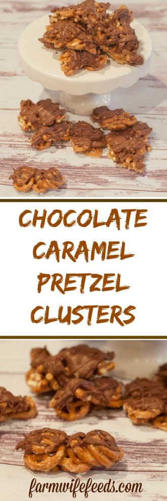 Chocolate Caramel Pretzel Clusters from Farmwife Feeds, just the right amount of salty crunch, sweet caramel and chocolate drizzle. #recipe #sweets #chocolate #caramel #snack