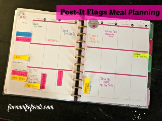 Post It Flags Meal Planning from Farmwife Feeds is an easy way to help with flexible meal planning both traditional and digital. #mealplanning #digitalplanner #PostIt