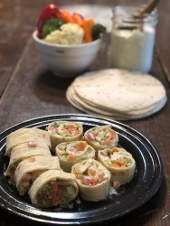 Dill Dip Veggie Wrap from Farmwife Feeds, an easy vegetable tortilla roll up, great for snacks or appetizers. #recipe #vegetables #snacks