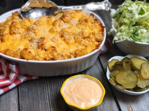 Big Mac Tater Tot Casserole from Farmwife Feeds is a casserole take on a McDonalds favorite complete with special sauce. #bigmac #casserole #hotsdish #tatertots