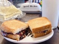 Grilled Peanut Butter and Jelly from Farmwife Feeds makes a great warm filling snack or a quick meal. #grilled #peanutbutter #sandwich #peanutbutterandjelly