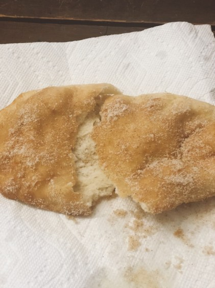 County Fair Beaver Tails from Farmwife Feeds is a cinnamon sugar coated deep fried classic you can enjoy at home. #fairfood #beavertail #friedpastry