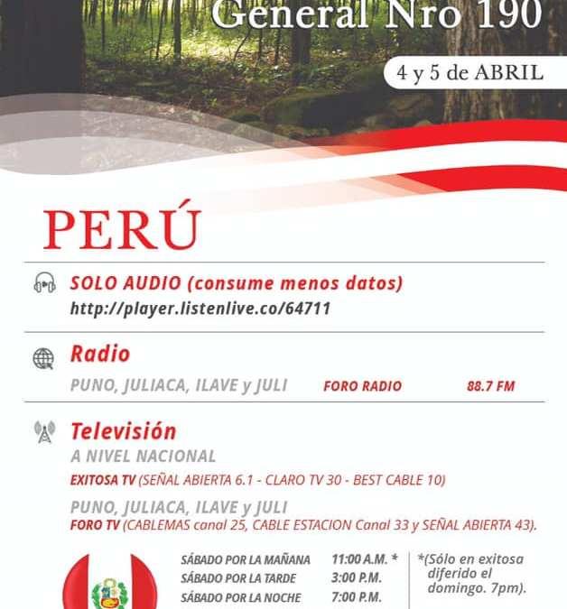 Iglesia en Perú transmitirá la Conferencia General por TV y Radio abierta
