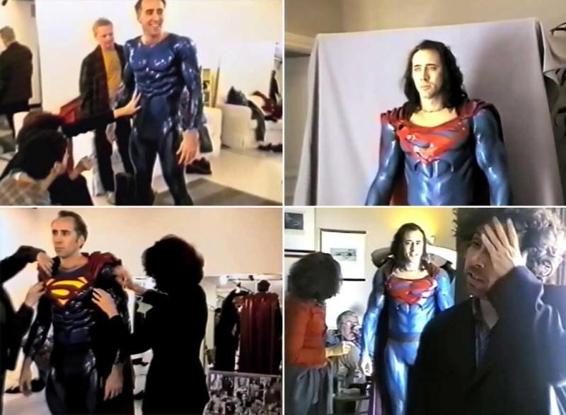 A breve vida do Superman de Tim Burton e Nicholas Cage - teste de figurino