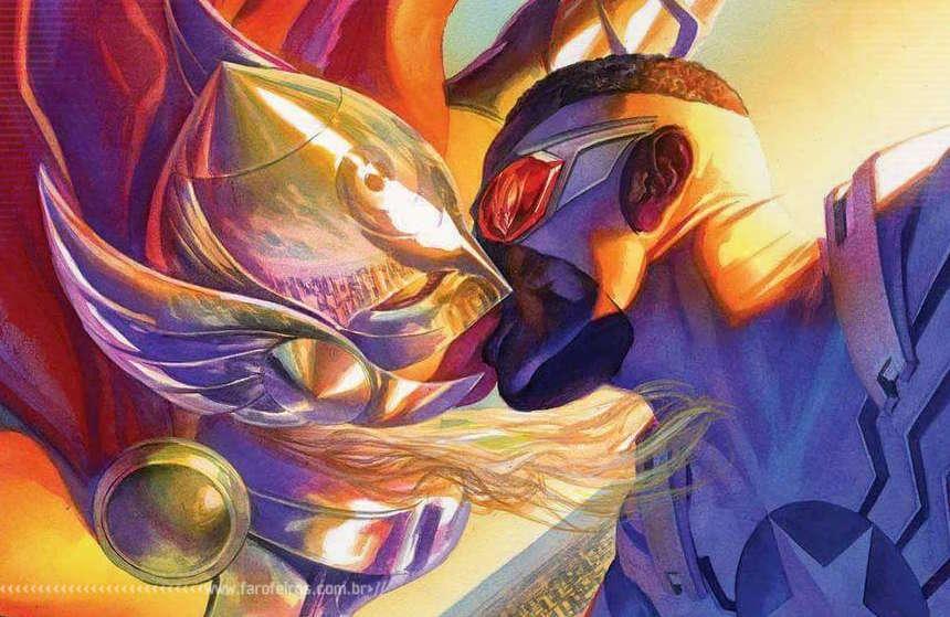 Capitão América beijando Thor - Blog Farofeiros