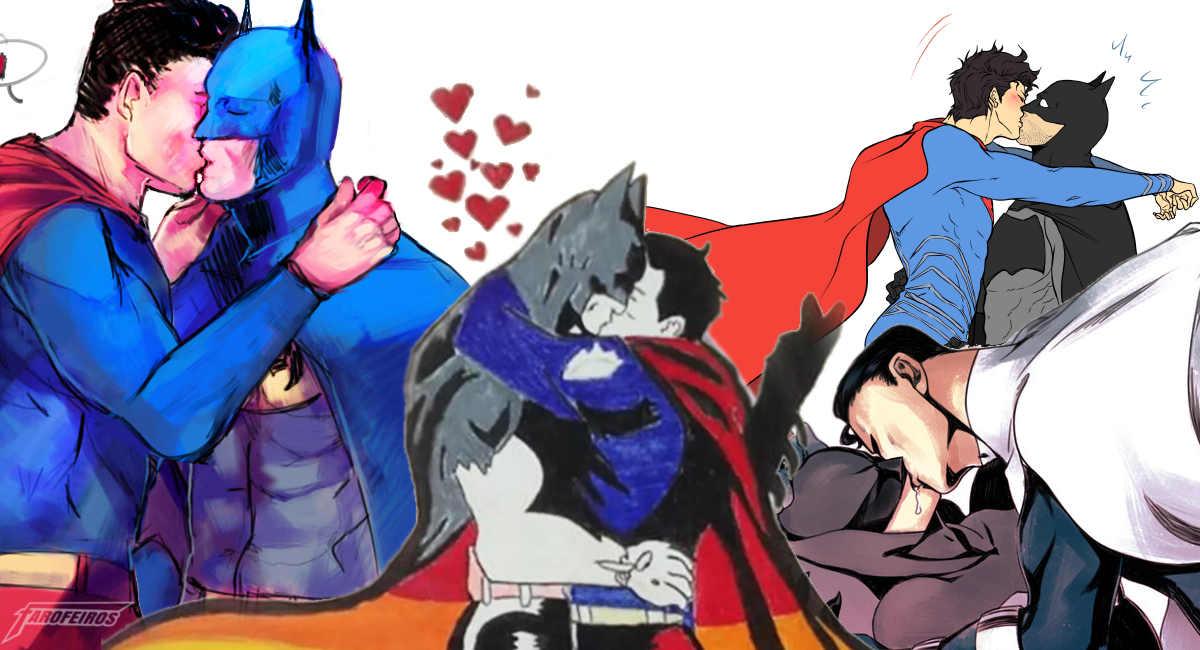 Batman beijando Superman em Poços de Caldas