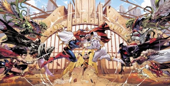 Liga da Justiça irá enfrentar sua versão do futuro - Capa tripla - Blog Farofeiros