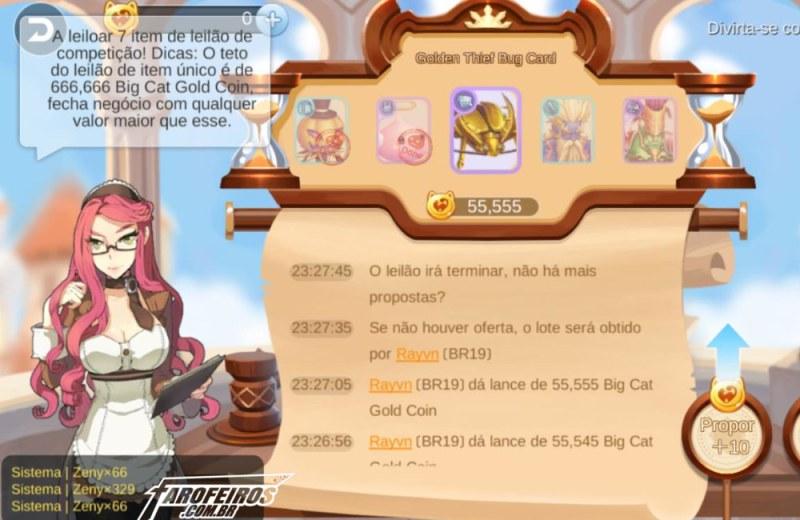 Os assustadores leilões de Ragnarok Mobile - Leilão Carta Golden Thief Bug GTB - Blog Farofeiros