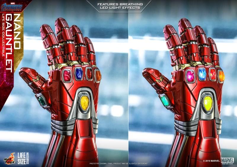 Nano Gauntlet - Manopla de Tony Stark - Vingadores - Ultimato - Tamanho real - efeito das luzes- Blog Farofeiros