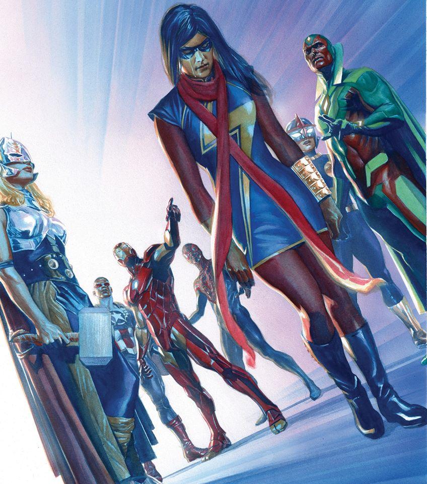 A arte de Alex Ross - Vingadores - Kamala - Miss Marvel - Blog Farofeiros