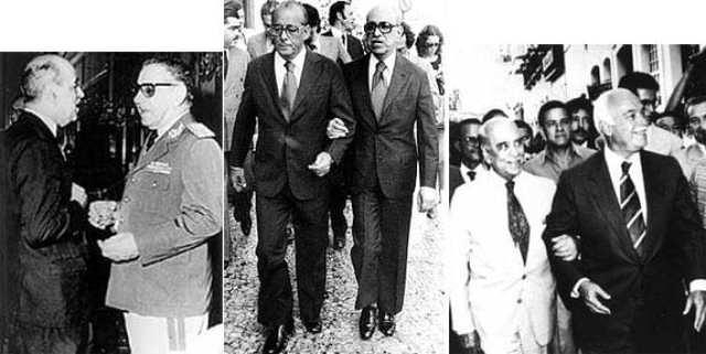 """Roberto Marinho e as """"relações de poder"""". Com os ex-presidentes Costa e Silva e Figueiredo, e o ex-governador baiano Antônio Carlos Magalhães (esq-dir/Blog do Garotinho)"""