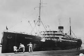 Navio Baependi: tinha o nome de Tijuca e foi confiscado pelo governo brasileiro em face da declaração de guerra contra o Império Alemão em 1917.